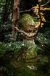 Ancient Japanese stone lantern, Toro, Ishi-doro at Tenjuan Temple pond Zen garden. Example of Japanese Wabi-Sabi aesthetics. Nanzen-ji temple complex in Sakyo-ku, Kyoto, Japan 2017 Image © MaximImages, License at https://www.maximimages.com