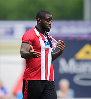 Lincoln City's John Akinde complains about his shirt being ripped after a challenge from Sheffield Wednesday's Julian Borner<br /> <br /> Photographer Chris Vaughan/CameraSport<br /> <br /> Football Pre-Season Friendly - Lincoln City v Sheffield Wednesday - Saturday July 13th 2019 - Sincil Bank - Lincoln<br /> <br /> World Copyright © 2019 CameraSport. All rights reserved. 43 Linden Ave. Countesthorpe. Leicester. England. LE8 5PG - Tel: +44 (0) 116 277 4147 - admin@camerasport.com - www.camerasport.com