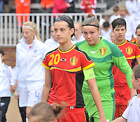 20131011 - SCHWEINFURT , GERMANY :  Belgian Laura Baetens pictured during the female soccer match between Belgium Women U17 and The Netherlands U17 , in the first game of the Elite round in group6 in the UEFA European Women's Under 17 competition 2013 in the Willy Sachs Stadium - Schweinfurt. Friday 11 October 2013. PHOTO DAVID CATRY