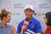 Golf reporter, Amanda Balionis interviews Yung-Hua LIU (TPE) following Rd 1 of the Asia-Pacific Amateur Championship, Sentosa Golf Club, Singapore. 10/4/2018.<br /> Picture: Golffile | Ken Murray<br /> <br /> <br /> All photo usage must carry mandatory copyright credit (&copy; Golffile | Ken Murray)