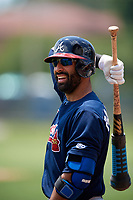 Atlanta Braves third baseman Jose Bautista (1) warms up in between innings during a Minor League Extended Spring Training game against the Philadelphia Phillies on April 20, 2018 at Carpenter Complex in Clearwater, Florida.  (Mike Janes/Four Seam Images)