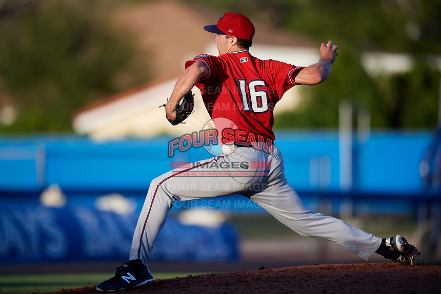 Fort Myers Miracle starting pitcher Sean Poppen (16) delivers a pitch during a game against the Dunedin Blue Jays on April 17, 2018 at Dunedin Stadium in Dunedin, Florida.  Dunedin defeated Fort Myers 5-2.  (Mike Janes/Four Seam Images)