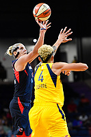 Washington, DC - Aug 8, 2019: Washington Mystics forward Elena Delle Donne (11) shoots a jump shot over Indiana Fever forward Candice Dupree (4) during 2nd half action of game between the Indiana Fever and the Washington Mystics. The Mystics defeat the Fever 91-78 at the Entertainment & Sports Arena in Washington, DC. (Photo by Phil Peters/Media Images International)