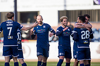 8th February 2020; Dens Park, Dundee, Scotland; Scottish Championship Football, Dundee versus Partick Thistle; Kane Hemmings of Dundee is congratulated after scoring for 1-0 on 23 minutes by Shaun Byrne