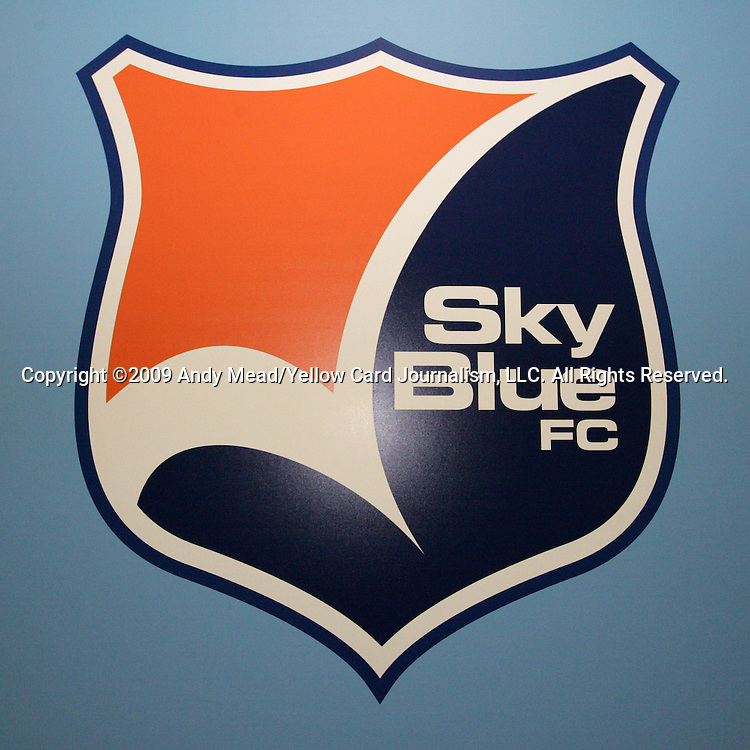16 January 2009: Sky Blue FC logo. The 2009 inaugural Womens Pro Soccer (WPS) Draft was held at the Convention Center in St. Louis, Missouri in conjuction with the National Soccer Coaches Association of America's annual convention.