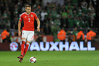 Wales' Chris Gunter in action during tonights match <br /> <br /> Photographer Ian Cook/CameraSport<br /> <br /> FIFA World Cup Qualifying - European Region - Group D - Wales v Republic of Ireland - Monday 9th October 2017 - Cardiff City Stadium - Cardiff<br /> <br /> World Copyright &copy; 2017 CameraSport. All rights reserved. 43 Linden Ave. Countesthorpe. Leicester. England. LE8 5PG - Tel: +44 (0) 116 277 4147 - admin@camerasport.com - www.camerasport.com