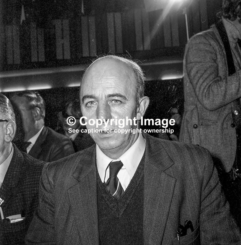 Joe Cahill, alleged leader, Provisional IRA, Belfast, N Ireland, 197210000668b.<br /> <br /> Copyright Image from Victor Patterson, 54 Dorchester Park, <br /> Belfast, UK, BT9 6RJ<br /> <br /> t1: +44 28 9066 1296 (from Rep of Ireland 048 9066 1296)<br /> t2: +44 28 9002 2446 (from Rep of Ireland 048 9002 2446)<br /> m: +44 7802 353836<br /> <br /> e1: victorpatterson@me.com<br /> e2: victorpatterson@gmail.com<br /> <br /> www.victorpatterson.com<br /> <br /> Please see my Terms and Conditions of Use at VICTORPATTERSON.COM. It is IMPORTANT that you familiarise yourself with them.<br /> <br /> Images used on the Internet must be visibly watermarked i.e. &copy;VICTORPATTERSON.COM within the body of the image and copyright metadata must not be deleted. Images used on the Internet have a size restriction of 4kbs and are chargeable at the then current NUJ rates.<br /> <br /> This image is only available for the use of the download recipient i.e. television station, newspaper, magazine, book publisher, etc, and must not be passed on to any third party. It is also downloaded on condition that each and every usage is notified within 7 days to victorpatterson@me.com<br /> <br /> The right of Victor Patterson to be identified as the author is asserted in accordance with The Copyright Designs And Patents Act (1988).