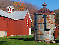 Sleeping Bear Dunes National Lakeshore, MI: The red barn and steel silo of the Crouch fram in morning light