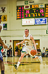 4 February 2014: University of Vermont Catamount Guard Sandro Carissimo, a Senior from Sleepy Hollow, NY, in action against the University of Maine Black Bears at Patrick Gymnasium in Burlington, Vermont. The Cats defeated the Bears 93-65 improving to 9-1 in America East and 15-9 overall. Mandatory Credit: Ed Wolfstein Photo *** RAW (NEF) Image File Available ***