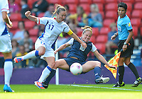 July 25, 2012..Rachel Buehler (16), and Gaetane Thiney (17). USA vs France Football match during 2012 Olympic Games at Hampden Park in Glasgow, England. USA defeat France 4-2 after conceding two goals in the first half of the match...(Credit Image: © Mo Khursheed/TFV Media)
