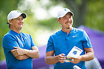 MUSCLE SHOALS, AL - MAY 25: West Florida Coach Steve Fell speaks with Henry Westmoreland before Westmoreland tees off at No. 1 during the Division II Men's Team Match Play Golf Championship held at the Robert Trent Jones Golf Trail at the Shoals, Fighting Joe Course on May 25, 2018 in Muscle Shoals, Alabama. Lynn defeated West Florida 3-2 to win the national title. (Photo by Cliff Williams/NCAA Photos via Getty Images)
