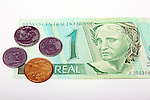 Brazil real currency paper bill and centavos coins