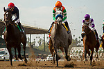 ARCADIA, CA FEBRUARY 10: #4 Unique Bella, ridden by Mike Smith, #2 Mopotism, ridden by Mario Gutierrez, and  #5 Majestic Heat, ridden by Flavien Prat, at the start of <br />  the Santa Maria Stakes (Grade ll) at Santa Anita Park in Arcadia, CA.  (Photo by Casey Phillips/ Eclipse Sportswire/ Getty Images)