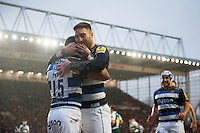 Matt Banahan and Anthony Watson of Bath Rugby celebrate a first half try. Aviva Premiership match, between Leicester Tigers and Bath Rugby on November 29, 2015 at Welford Road in Leicester, England. Photo by: Patrick Khachfe / Onside Images