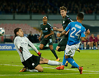 Lorenzo Insigne shoots and scores during the Champions League Group  soccer match between SSC Napoli - Manchester City   at the Stadio San Paolo in Naples 01 nov 2017