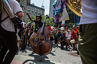 NEW YORK, NEW YORK - June 20: A group of musicians participates in a protest in Foley Square on June 20, 2020. Juneteenth commemorates June 19, 1865, when a Union general read orders in Galveston, Texas stating all enslaved people in Texas were free according to federal law. (Photo by Pablo Monsalve / VIEWpress via Getty Images)