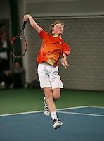 Rotterdam, The Netherlands, 15.03.2014. NOJK 14 and 18 years ,National Indoor Juniors Championships of 2014, Jesper de Jong (NED)<br /> Photo:Tennisimages/Henk Koster