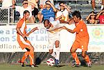05 September 2010: Carolina's Claudio Suarez (MEX) (2) grabs the jersey of Pumas Morelos's Fernando Morales (MEX) (18). The Carolina RailHawks (USA) defeated Pumas Morelos (MEX) 3-0 at WakeMed Stadium in Cary, North Carolikna in an international club friendly.