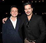 Michael Grandage & Ricky Martin.attending the Broadway Opening Night Actors' Equity Gypsy Robe Ceremony for recipient Matt Wall in 'EVITA' at the Marquis Theatre in New York City on 4/6/2012