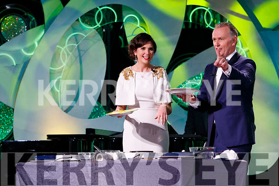 Kerry Rose, Breda O'Mahony with presenter Dáithí Ó Sé in the Dome on Tuesday Night.