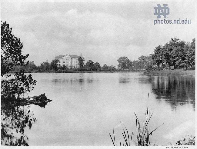 GFCL 48/53:  Carroll Hall from across St. Mary's Lake, c1920..Image from the University of Notre Dame Archives.