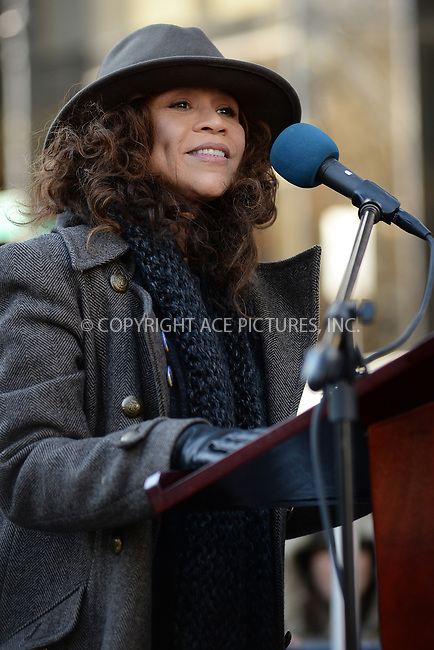 www.acepixs.com<br /> January 20, 2018  New York City<br /> <br /> Rosie Perez speaks to crowds of protesters at the Women's March on January 20, 2018 in New York City.<br /> <br /> Credit: Kristin Callahan/ACE Pictures<br /> <br /> Tel: 646 769 0430<br /> Email: info@acepixs.com