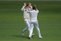 Wellington's Michael Bracewell congratulates Ollie Newton for dismissing Otago's Camden Hawkins on day one of the Plunket Shield cricket match between the Wellington Firebirds and Otago Volts at Basin Reserve in Wellington, New Zealand on Monday, 21 October 2019. Photo: Dave Lintott / lintottphoto.co.nz