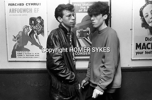 Blitz Kids New Romantics at The Blitz Club Covent Garden, London, England 1980.<br /> <br /> [Left -right ] Martin Surname? went on to work as an illustrator at Vogue, and his friend Kevin Jenkins was an illustrator too, but now works as a DJ.<br /> <br /> 16x12 PARIS 2015 LES DOUCHES LA GALERIE