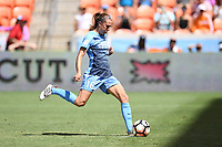 Houston, TX - Saturday May 13, 2017: Sky Blue FC midfielder Sarah Killion (16) scores a goal on a penalty kick during a regular season National Women's Soccer League (NWSL) match between the Houston Dash and Sky Blue FC at BBVA Compass Stadium. Sky Blue won the game 3-1.