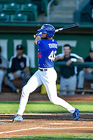 Cody Thomas (46) of the Ogden Raptors follows through on his swing against the Grand Junction Rockies during the Pioneer League game at Lindquist Field on August 25, 2016 in Ogden, Utah. The Rockies defeated the Raptors 12-3. (Stephen Smith/Four Seam Images)