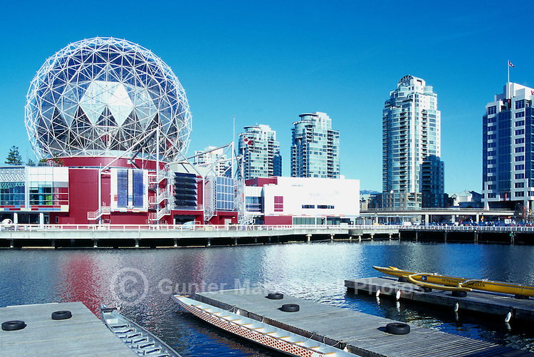 Vancouver, BC, British Columbia, Canada - Telus World of Science (aka Science World), and Residential High Rise Condominium Buildings at False Creek - Renovation at Science World completed in 2012