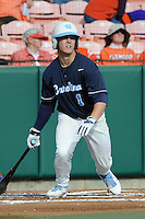 Shortstop Tommy Coyle #1 of the North Carolina Tar Heels swings at a pitch during a game against the Clemson Tigers at Doug Kingsmore Stadium on March 9, 2012 in Clemson, South Carolina. The Tar Heels defeated the Tigers 4-3. Tony Farlow/Four Seam Images.