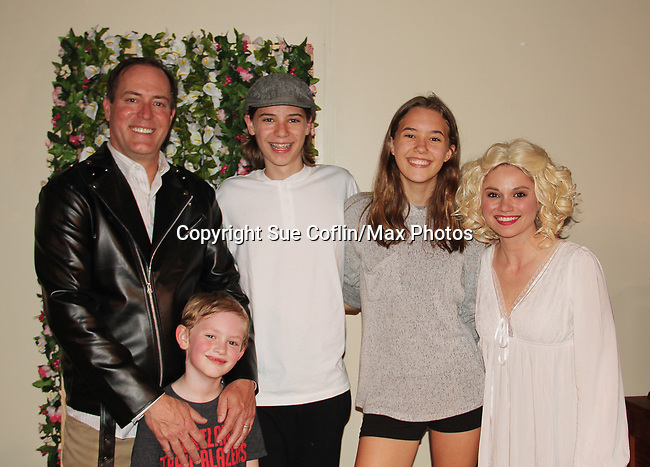 """Guiding Light's Mandy Bruno and Robert Bogue with sons Flynn & Zeb and daughter Zoe as Mandy and Rob star in Lilttle Shop of Horrors The Musical on May 27, 2018 presented by CaPAA at the Ritz Theater in Scranton, PA. Mandy is """"Audrey"""", Robert is """"Orian, Berstein, Luce, Snip, Martin"""" and Kelly is """"Seymour"""". Mandy is  also the director, set designer, video projection production, props and costumes. Also their children Zeb (15), Zoe (13) and Flynn (6) were at this show and many others. (Photo by Sue Coflin/Max Photo)"""