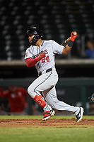 Scottsdale Scorpions Heliot Ramos (24), of the San Francisco Giants organization, at bat during an Arizona Fall League game against the Mesa Solar Sox on September 18, 2019 at Sloan Park in Mesa, Arizona. Scottsdale defeated Mesa 5-4. (Zachary Lucy/Four Seam Images)