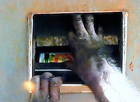 A chimpanzee puts an empty can of juice into a recycle bin. A chimpanzee inserts a 100 yen coin into a drink vending machine. Chimpanzees in Tama Zoo in the western suberbs of Tokyo buy soft drinks from a vending machine. The zoo, which is seen as one of Japan's most inovative, has installed a vending machine. The Chimps are given a 100 yen coin which they insert into a vending machine and are given a can of fruit or vegetable juice. The chimps then put the empty can into the waste machine for recycling.