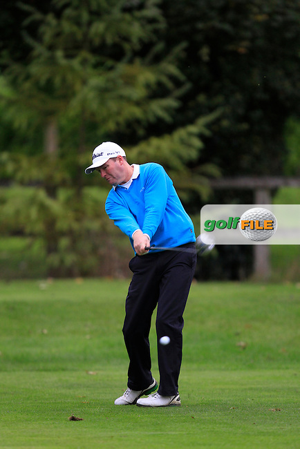 John Dwyer (Ashbourne G.C) on the 3rd tee during Round 4 of The Cassidy Golf 103rd Irish PGA Championship in Roganstown Golf Club on Sunday 13th October 2013.<br /> Picture:  Thos Caffrey / www.golffile.ie