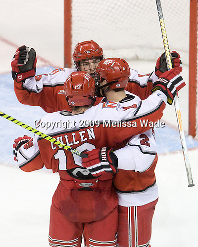 Patrick Cullen (RPI - 19), Tyler Helfrich (RPI - 15), Erik Burgdoerfer (RPI - 2) - The Rensselaer Polytechnic Institute Engineers defeated the Boston University Terriers 5-3 on Friday, December 11, 2009, at Agganis Arena in Boston, Massachusetts.