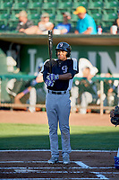 Daniel Montano (2) of the Grand Junction Rockies bats against the Ogden Raptors at Lindquist Field on June 25, 2018 in Ogden, Utah. The Raptors defeated the Rockies 5-3. (Stephen Smith/Four Seam Images)
