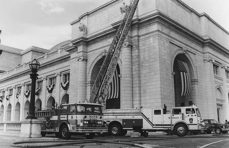 Fire engines outside the Washington Union Station. (Photo by CQ Roll Call via Getty Images)