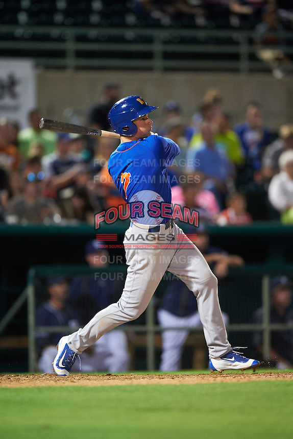 Midland RockHounds third baseman Matt Chapman (7) hits a home run during a game against the San Antonio Missions on April 21, 2016 at Nelson W. Wolff Municipal Stadium in San Antonio, Texas.  Midland defeated San Antonio 9-2.  (Mike Janes/Four Seam Images)