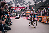 Maglia Bianca / best young rider Miguel Angel Lopez (COL/Astana) crossing the finish line<br /> <br /> stage 20: Susa - Cervinia (214km)<br /> 101th Giro d'Italia 2018