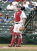 June 22, 2004:  Catcher Chris Heintz of the Rochester Red Wings, Triple-A International League affiliate of the Minnesota Twins, during a game at Frontier Field in Rochester, NY.  Photo by:  Mike Janes/Four Seam Images