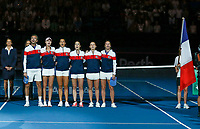 9th November 2019; RAC Arena, Perth, Western Australia, Australia; Fed Cup by BNP Paribas Tennis Final, Day 1, Australia versus France; French players sing along to their National Anthem