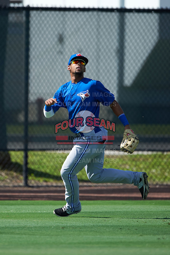 Toronto Blue Jays Freddy Rodriguez (5) during an instructional league game against the Philadelphia Phillies on October 3, 2015 at the Carpenter Complex in Clearwater, Florida.  (Mike Janes/Four Seam Images)