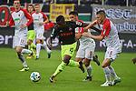 09.09.2017, WWK-Arena, Augsburg, GER, 1.FBL, FC Augsburg vs 1.FC Koeln, im Bild<br /> <br /> Rani KHEDIRA (FC Augsburg #8) und Jeffrey GOUWELEEUW (FC Augsburg #6) verfolgen Jhon CORDOBA (1.FC Koeln #15)<br /> <br /> Foto &copy; nordphoto / Schreyer