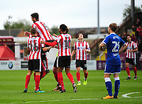 Lincoln City's Michael Bostwick celebrates scoring the opening goal<br /> <br /> Photographer Andrew Vaughan/CameraSport<br /> <br /> The EFL Sky Bet League Two - Lincoln City v Chesterfield - Saturday 7th October 2017 - Sincil Bank - Lincoln<br /> <br /> World Copyright &copy; 2017 CameraSport. All rights reserved. 43 Linden Ave. Countesthorpe. Leicester. England. LE8 5PG - Tel: +44 (0) 116 277 4147 - admin@camerasport.com - www.camerasport.com