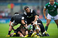 Sam Nock of New Zealand U20 passes the ball. World Rugby U20 Championship match between New Zealand U20 and Ireland U20 on June 11, 2016 at the Manchester City Academy Stadium in Manchester, England. Photo by: Patrick Khachfe / Onside Images