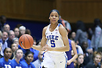10 February 2017: Duke's Leaonna Odom. The Duke University Blue Devils hosted the Syracuse University Orange at Cameron Indoor Stadium in Durham, North Carolina in a 2016-17 Division I Women's Basketball game. Duke won the game 72-55.