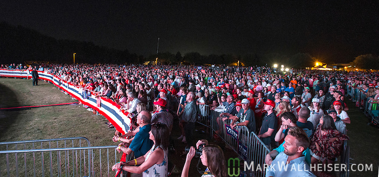 PANAMA CITY BEACH,FL- OCTOBER 11: Supporters packed the Pier Park Amphitheater in Panama City Beach, Florida for U.S.Republican presidential candidate Donald Trump's rally on October 11, 2016. Trump continues to campaign against his Democratic opponent Hillary Clinton with less than one month to go before Election Day. (Photo by Mark Wallheiser/Getty Images)
