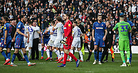 Players from both teams embrace and shake hands at the end of the match <br /> <br /> Photographer Andrew Kearns/CameraSport<br /> <br /> The EFL Sky Bet Championship - Leeds United v Bolton Wanderers - Saturday 23rd February 2019 - Elland Road - Leeds<br /> <br /> World Copyright © 2019 CameraSport. All rights reserved. 43 Linden Ave. Countesthorpe. Leicester. England. LE8 5PG - Tel: +44 (0) 116 277 4147 - admin@camerasport.com - www.camerasport.com